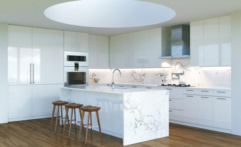 eine weiße kücheninsel ist ein traum! bilder und ideen für