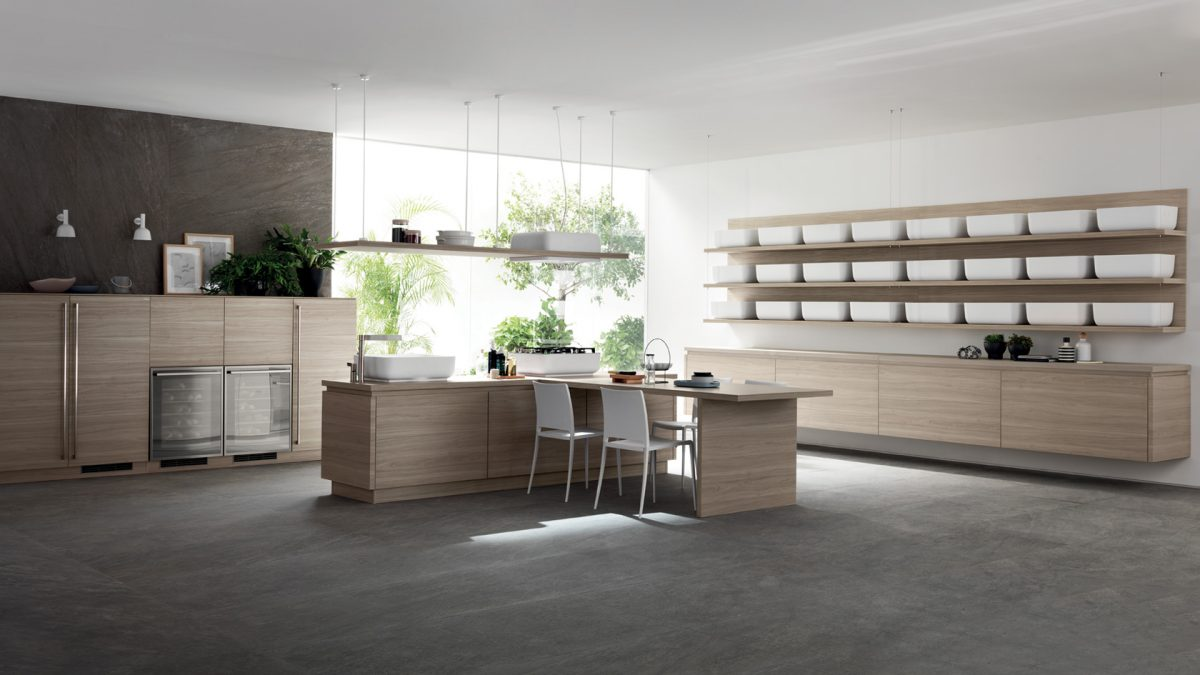 Kochinsel in L-Form mit Tisch; Foto: Scavolini