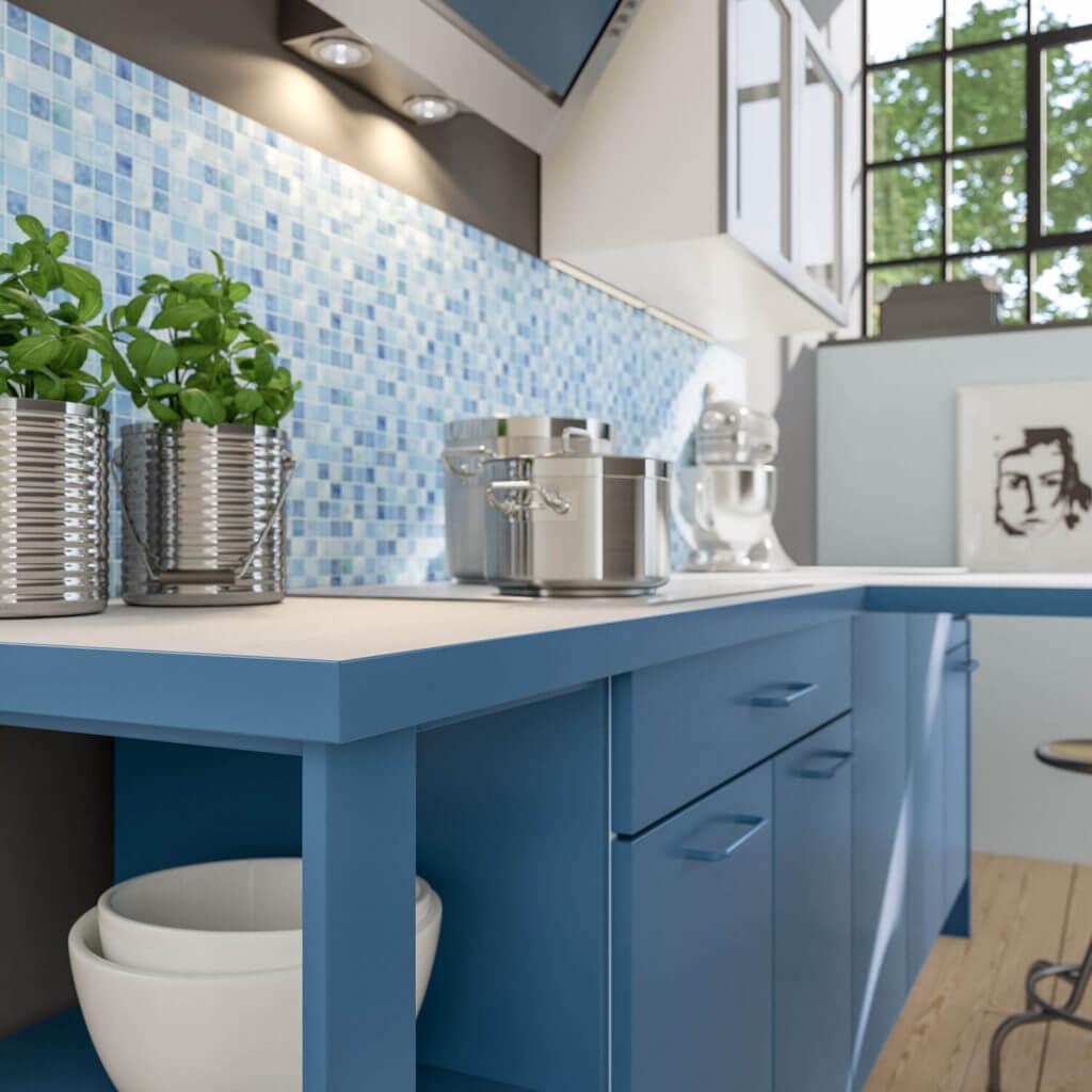 Küche Mit Blauen Fronten; Foto: Alno Küchen