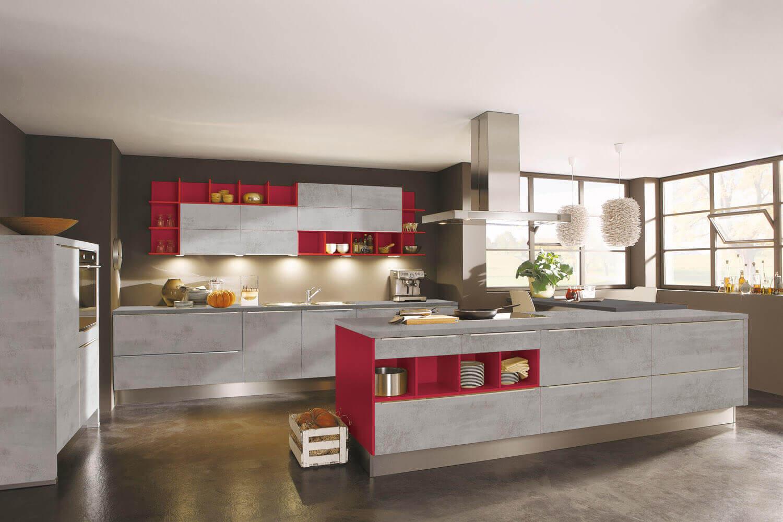 Alno Küche In Betonoptik Mit Roten Regalen