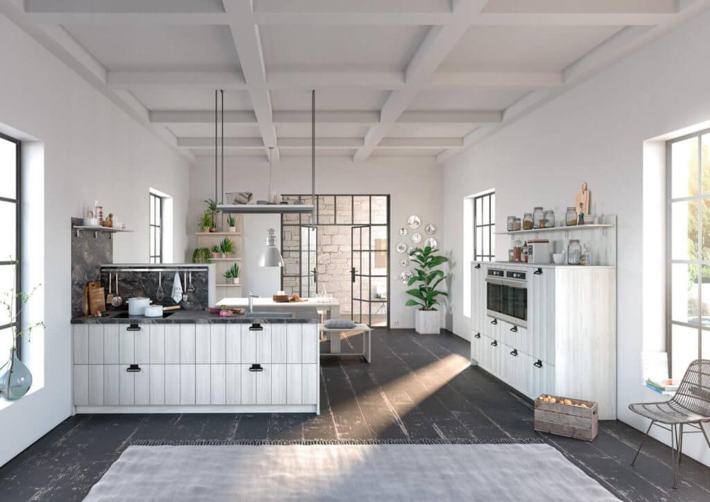 Küche im skandinavischen Landhausstil mit Arbeitsplatte aus Marmor; Foto: Alno