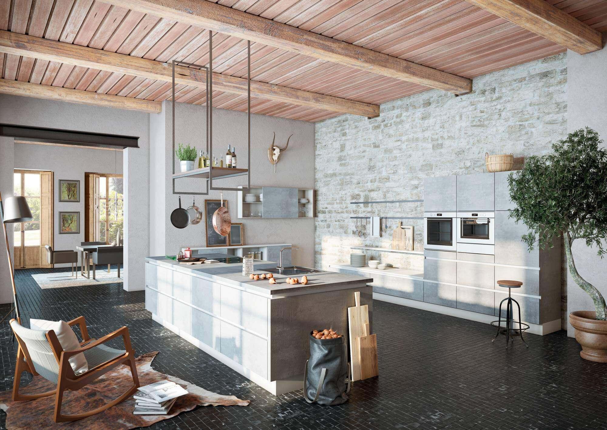 Rustikale Betonküche von Alno