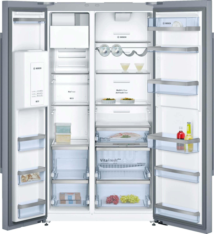Bosch American Side-by-Side Kühlschrank mit modernem Design, Frischesystem VitaFresh plus, EasyAccess Shelf, EasyLift Türabsteller. Foto: BSH Hausgeräte GmbH