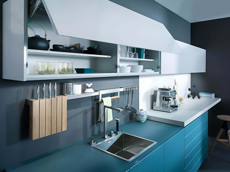 Blaue Küche mit grauer Wandfarbe: Ideen & Bilder von ...