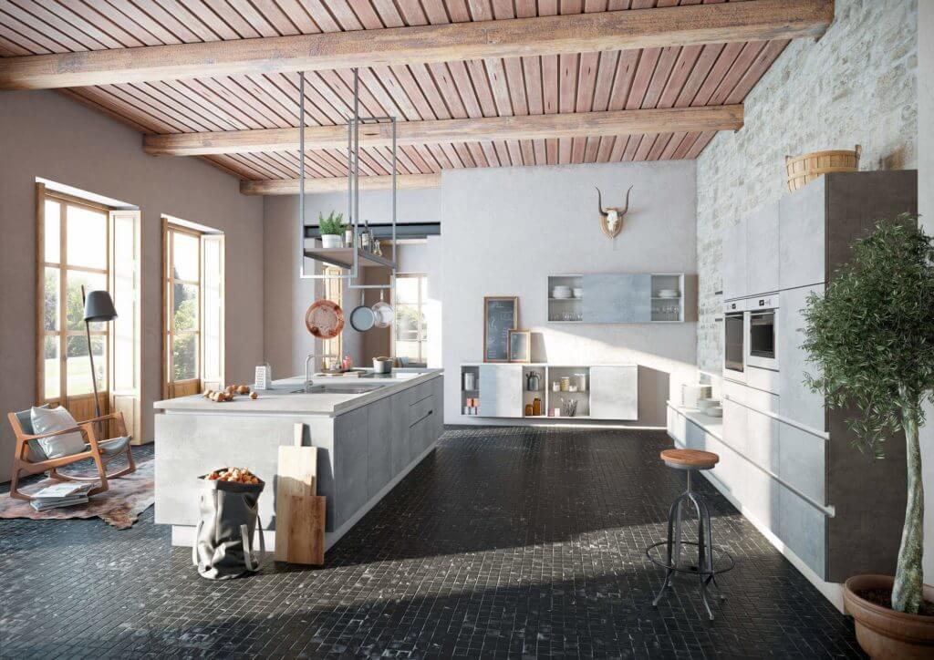 Graue Küche in Beton Optik, inklusive Küchenarbeitsplatte im Beton-Look; Foto: Alno