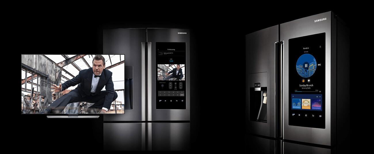 Für Entertainment ist beim smarten Kühlschrank Family Hub 2.0 von Samsung gesorgt. Foto: Samsung