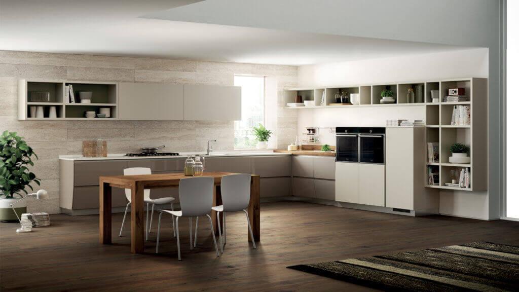 Küche mit Fronten in der Trendfarbe Magnolie, Foto: Scavolini