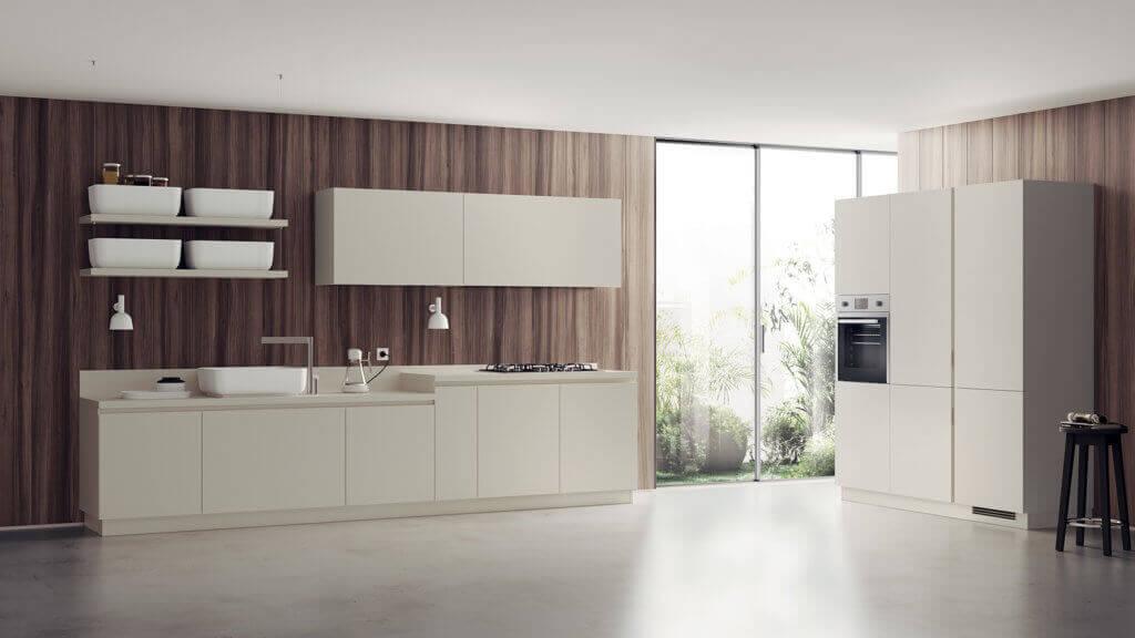 Moderne Küchenzeile in Magnolie, Foto: Scavolini