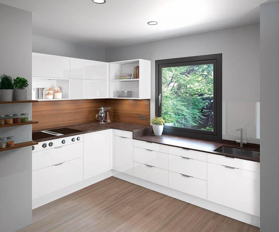 Küche mit weißem L; Foto: Haka Küche