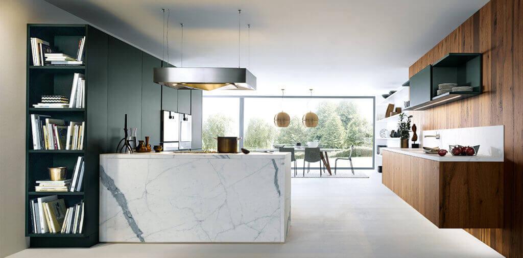 Marmor Küche Insel mit Holz; Foto: next 125