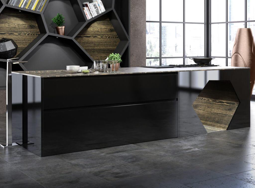 Hochglanz Küche in Schwarz; Foto: