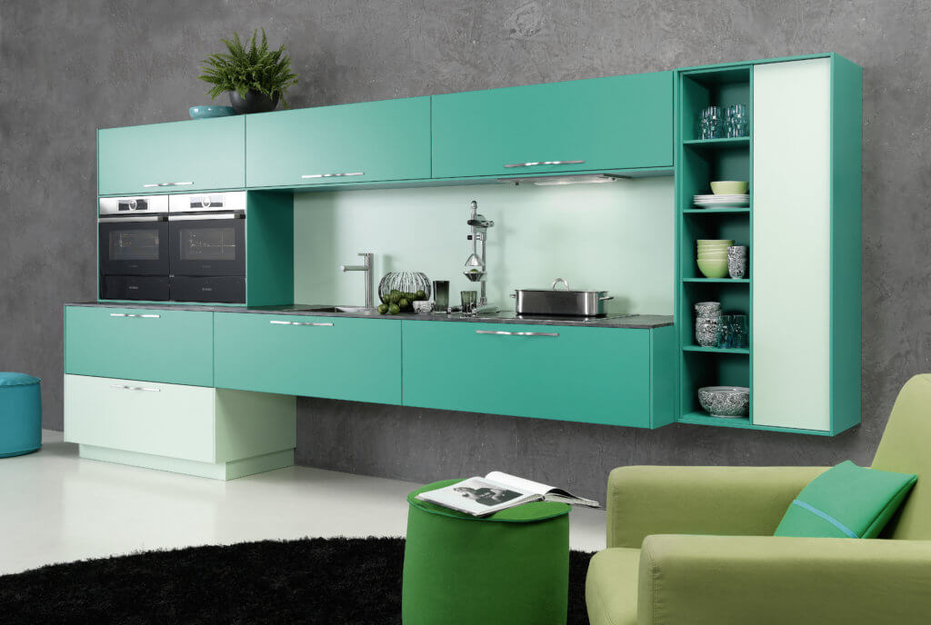 mintgr n in der k che die sch nsten bilder und ideen f r die neue trendfarbe k chenfinder magazin. Black Bedroom Furniture Sets. Home Design Ideas