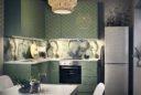 Kleine Küche in L-Form mit mintfarbenen Fronten; Foto: Inter IKEA Systems B.V.