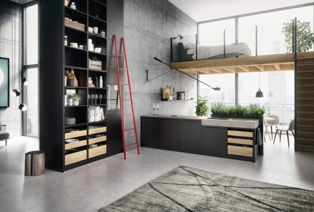 Küche mit Arbeitsplatte und Theke aus Beton; Foto: SieMatic