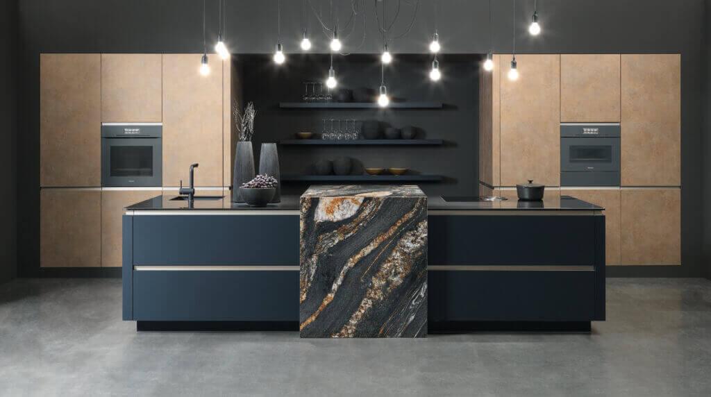 Küche mit Theke aus Naturstein; Foto: rational