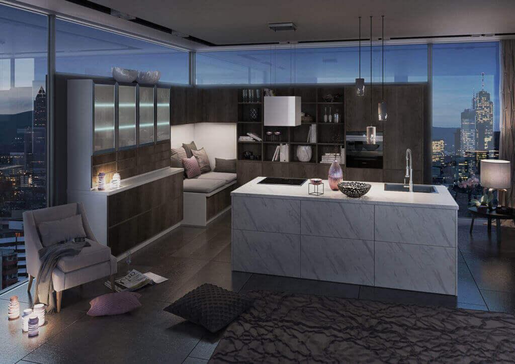 Kücheninsel in Marmor Optik und mit weißer Arbeitsplatte; Foto: bauformat