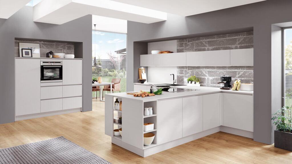 Nobilia Küche grifflos mit in L-Form in Weiß; Foto: Nobilia Küchen