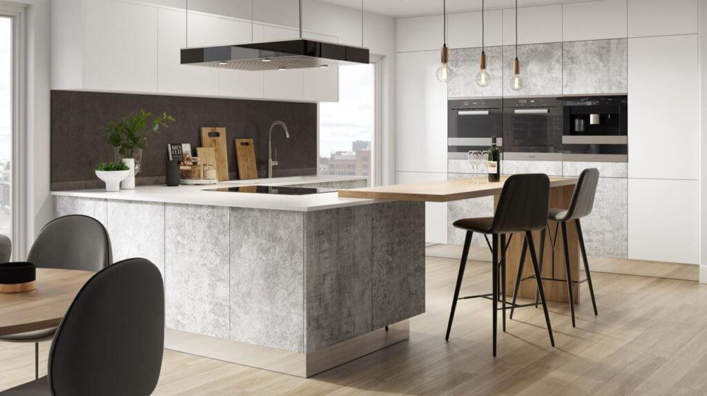Küche mit Fronten und Schränken aus Beton Ciré; Foto: Sheraton