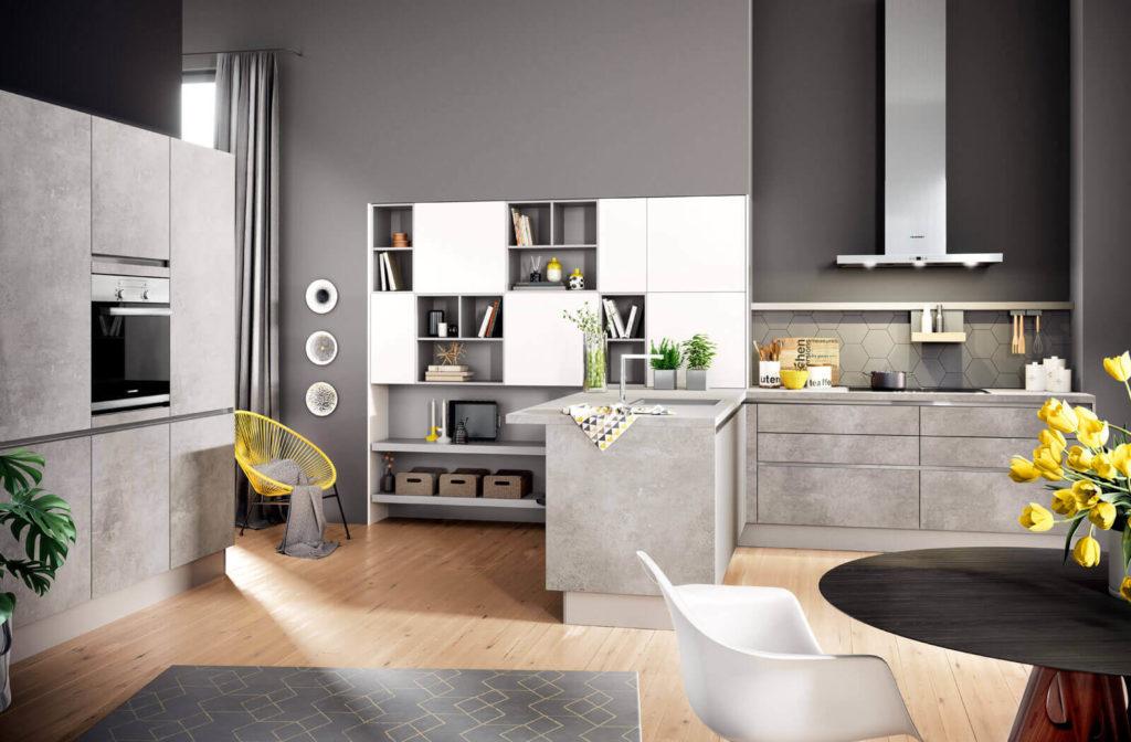 Häcker Küche Comet GL | Laster Soft GL Spachtelbeton Perlgrau; Foto: Häcker Küchen