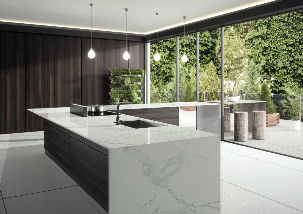 Küche mit Dekton Platte in Marmor Optik; Foto: Dekton Consentino