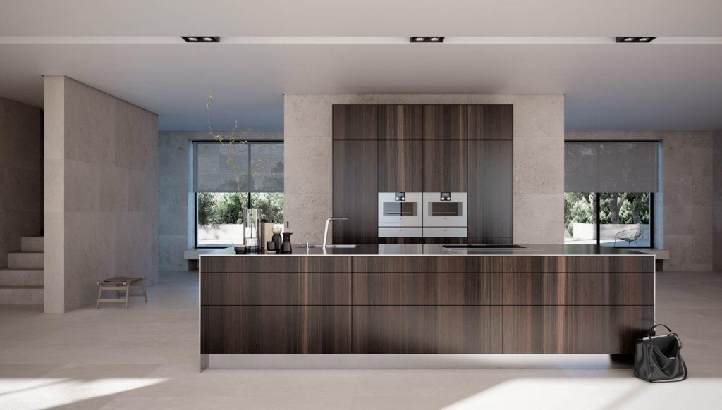 Grifflose SieMatic Pure Küche mit Insel und Fronten in Holz-Optik; Foto: SieMatic