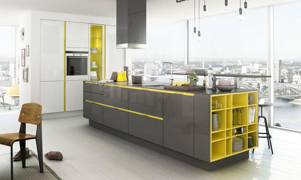 Bunte SieMatic S3 Küche mit Hochglanz-Fronten; Foto: SieMatic