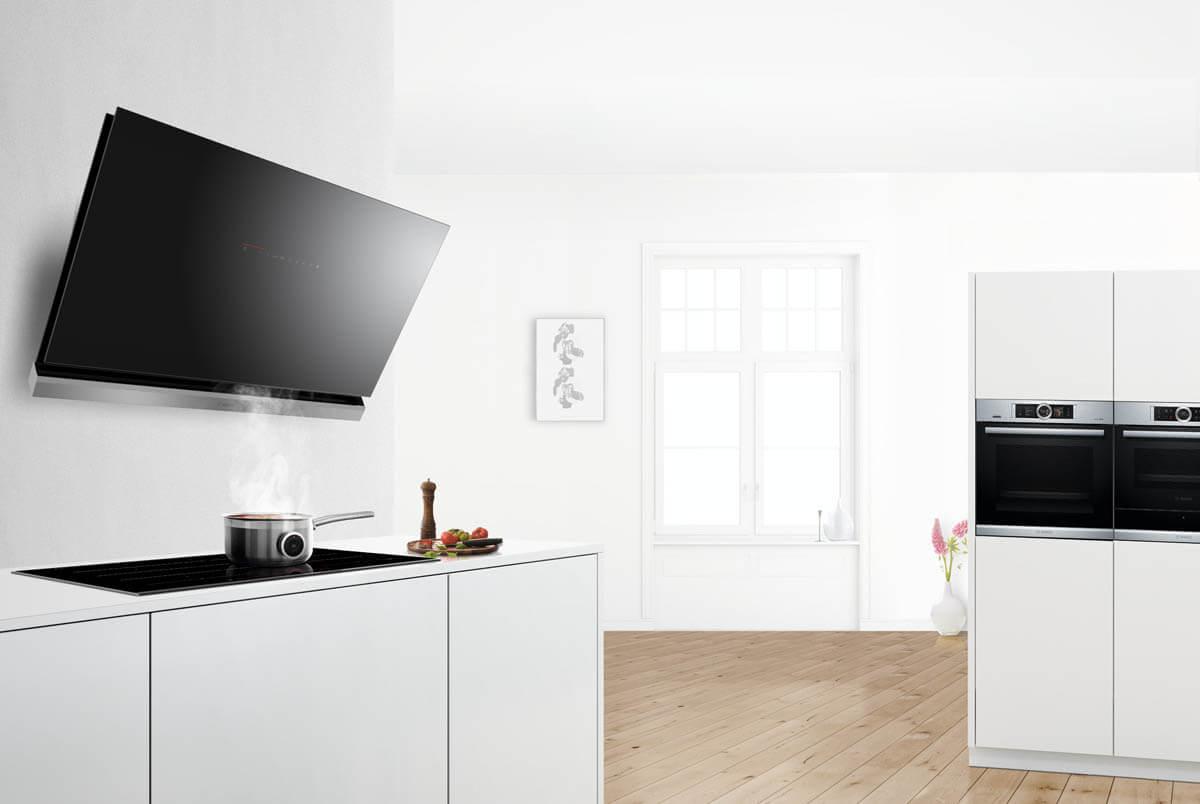 Design-Wandhaube in schwarz. Foto: Bosch