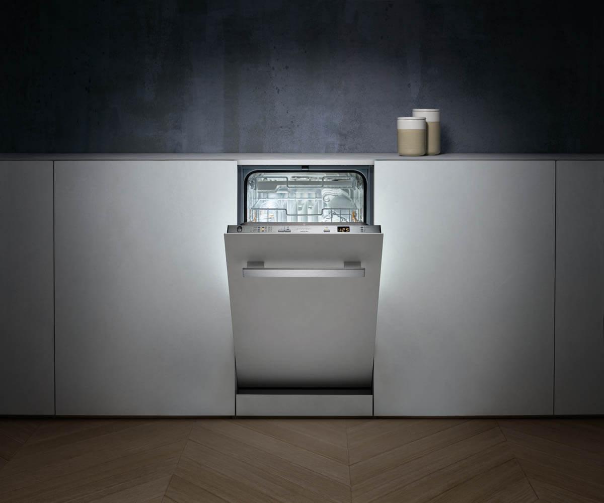 Schmaler Geschirrspüler (45cm) mit hochwertiger Ausstattung. Foto: Miele