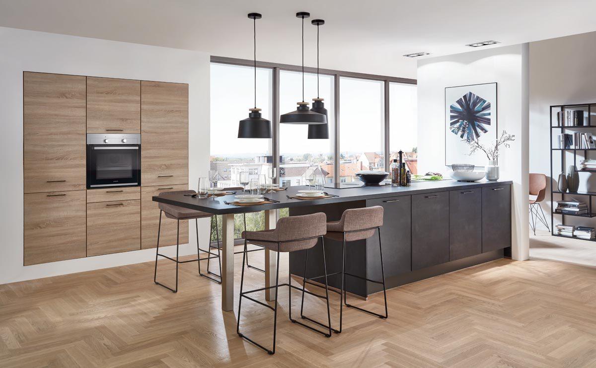 nobilia Küche Speed mit Fronten in Schwarzbeton Nachbildung; Foto: nobilia