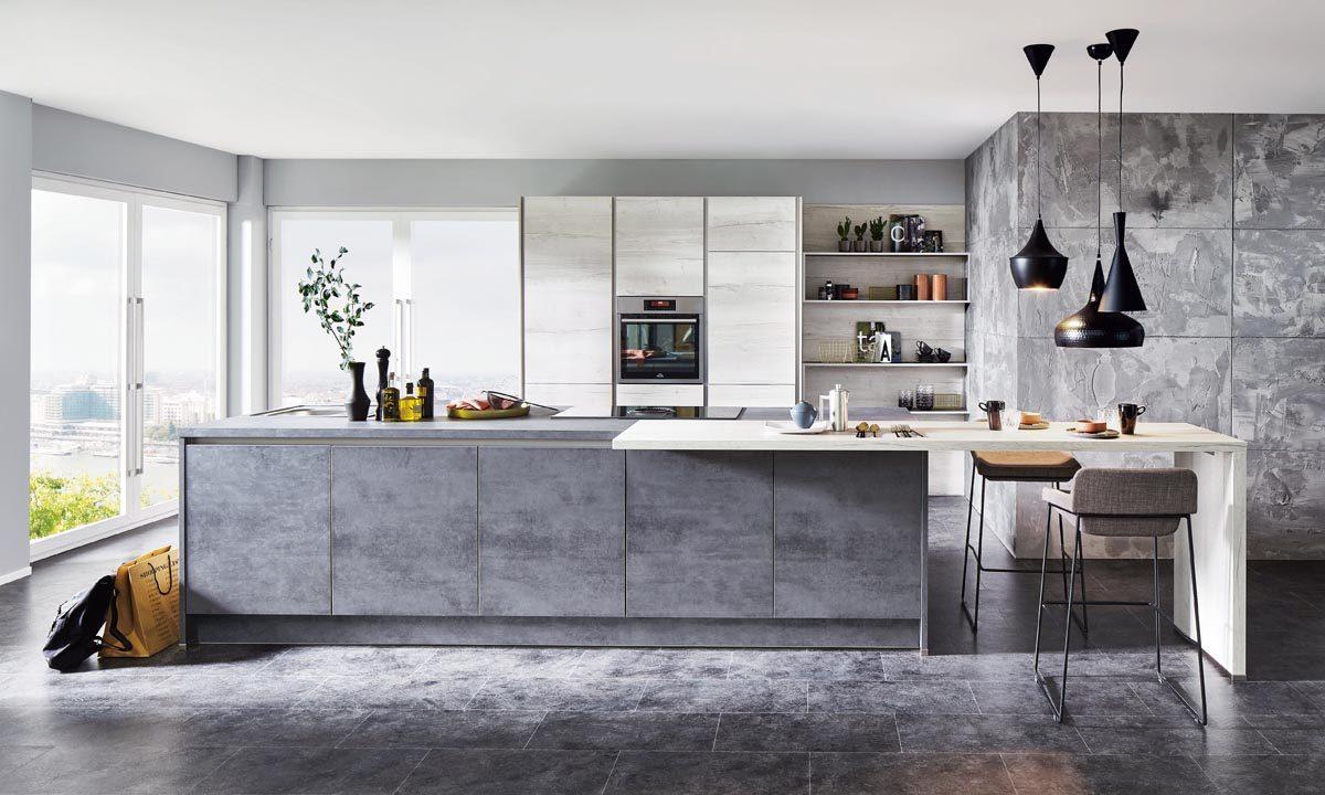 Küche mit schiefergrauen Fronten in Betonoptik; Foto: nobilia