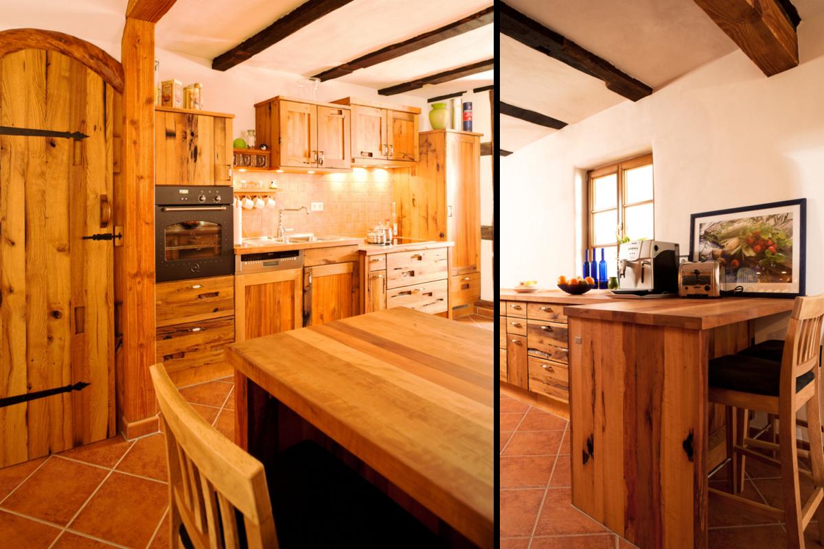 Küche aus Altholz im Landhausstil; Foto und Umsetzung: Pfister Möbelwerkstatt