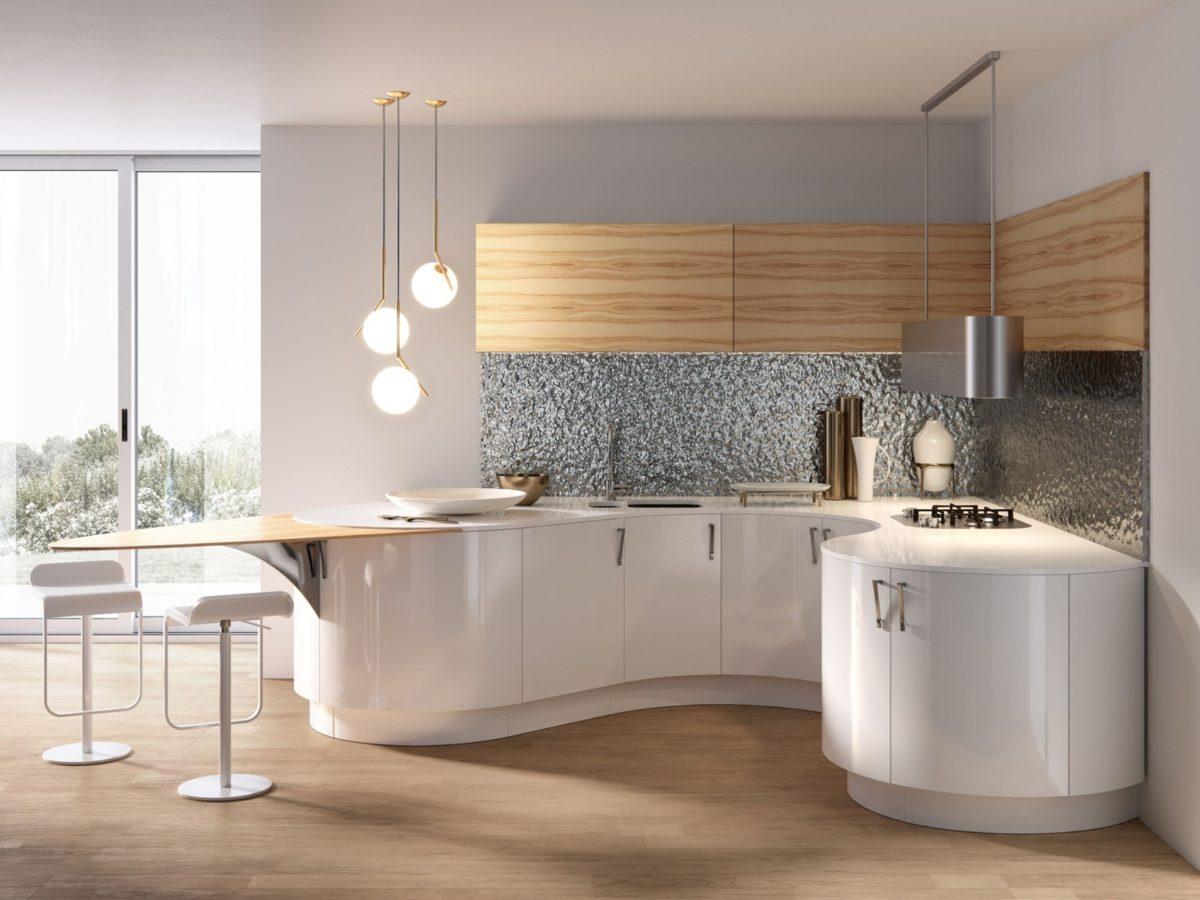 Runde Hochglanz-Küche mit Holzelementen Foto: archiproducts