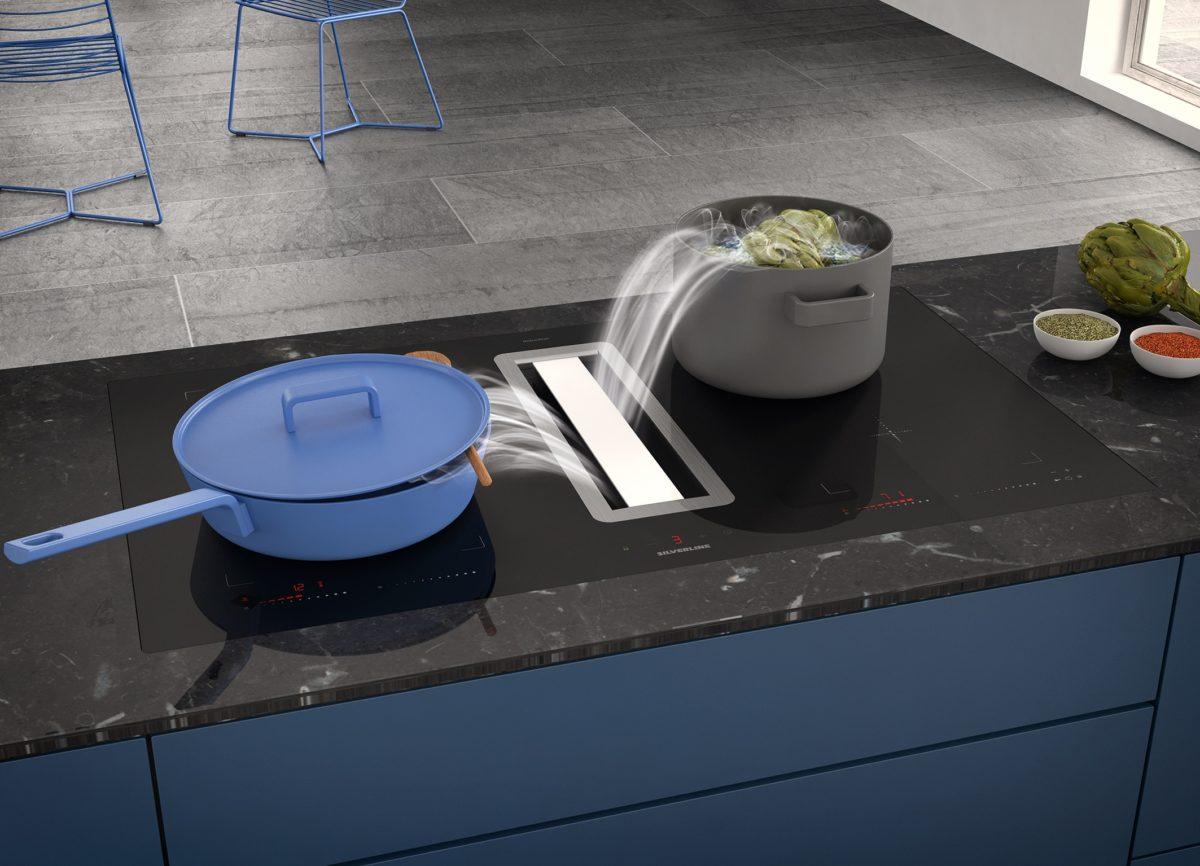 Extra großes Kochfeld mit Dunstabzug nach unten Flow-In Advanced; Foto: SILVERLINE