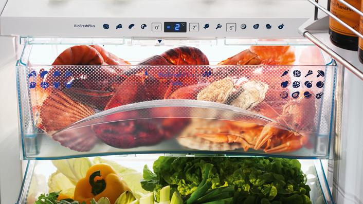 Kühlschrank mit BioFresh Zonen für Gemüse, Fisch und Fleisch; Foto: Liebherr