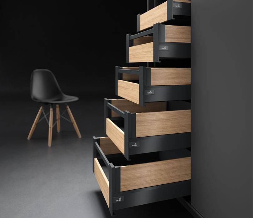 Der ergonomische Apothekerschrank von Hettich mit vielseitigen Auszügen. Foto: Hettich