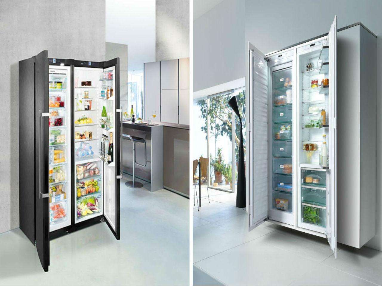 Links: Black-Steel-Kühlschrank von Liebherr. Rechts: Kühlgerät der Generation K 30.000 von Miele. Quellen: http://www.liebherr.com, http://www.miele.at