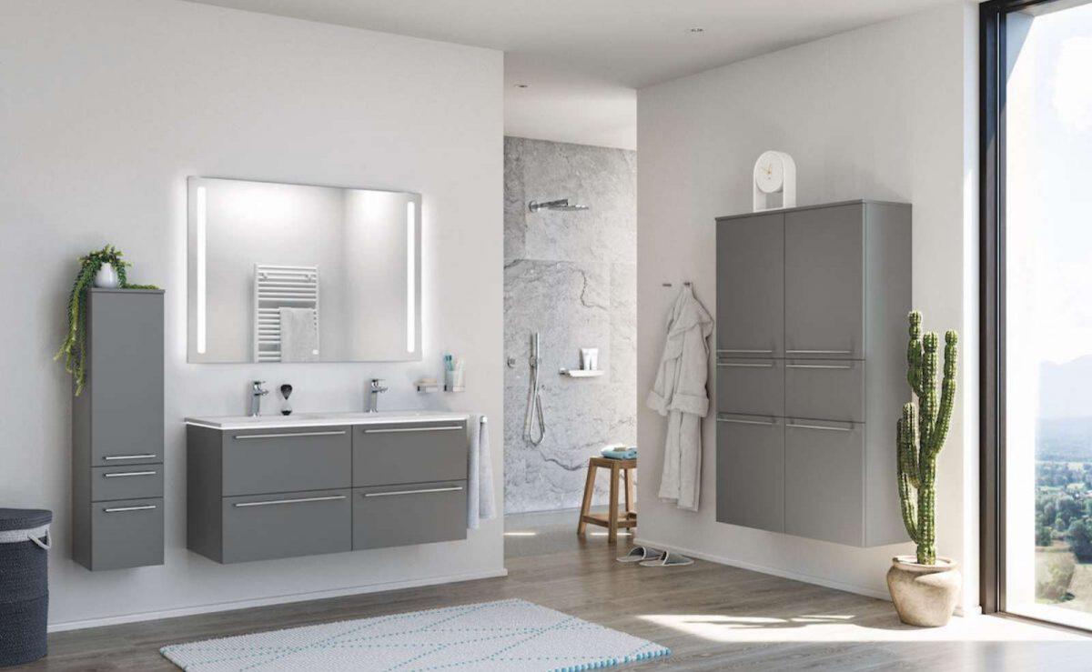 Moderne Badezimmer Möbel und Waschtische von nobilia; Foto: nobilia