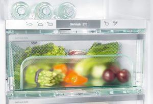 Obst und Gemüse lagern am besten bei fast 0 Grad Celsius und einer hohen Luftfeuchtigkeit im Fruit & Vegetable-Safe unter den idealen Bedingungen.