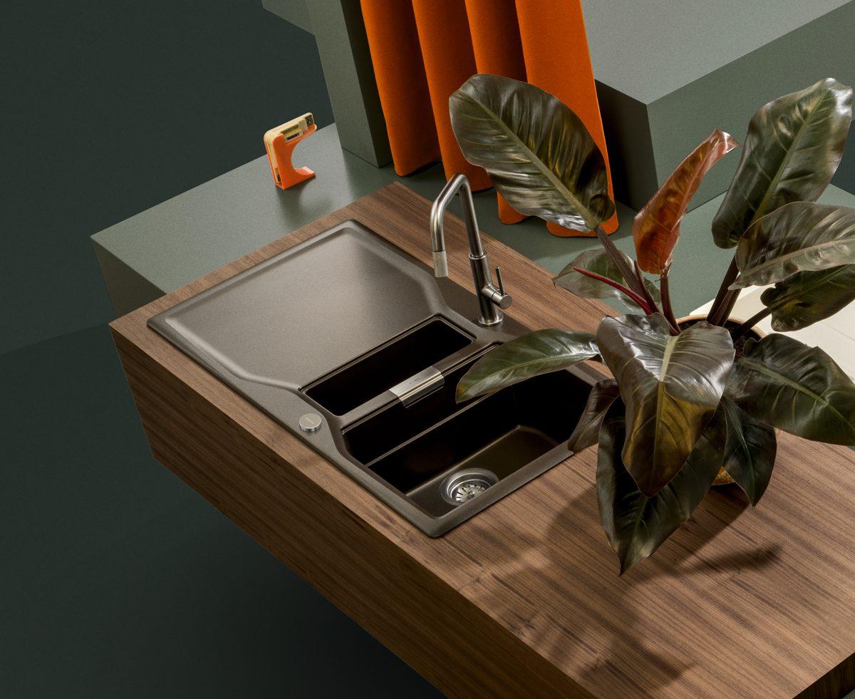 Die SCHOCK Armatur Tanos passt perfekt zur Küche im Industrial Style; Foto: SCHOCK