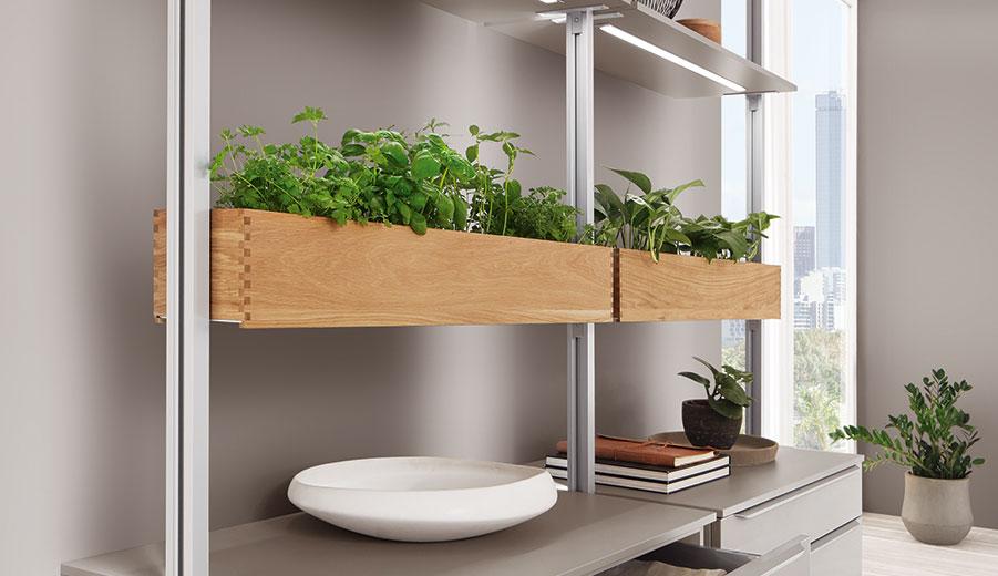 Holzkästen und Pflanzenkübel verwandeln das Stollen-Regal in einen Kräutergarten; Foto: nobilia