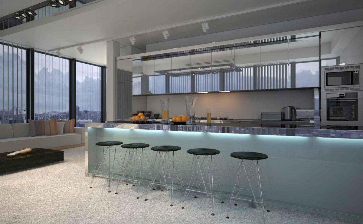 Kochinsel, Kücheninsel indirekte Beleuchtung bunt
