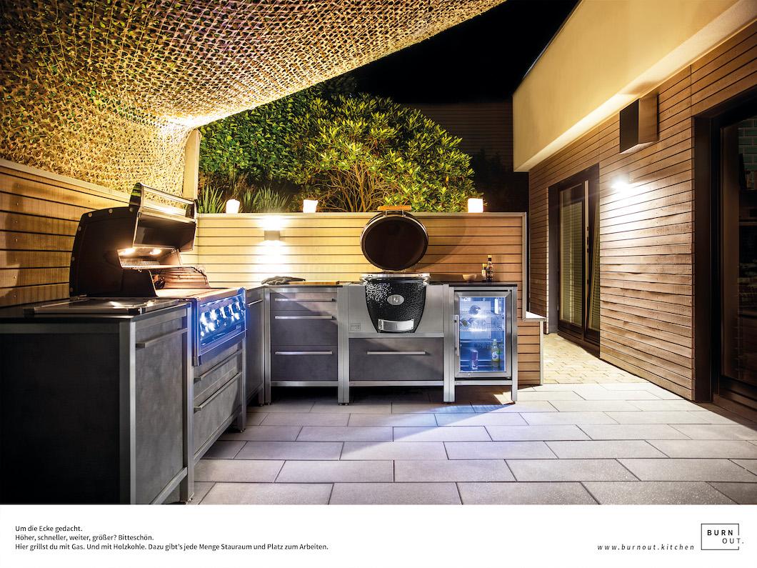 OUtdoor Küche grill kühlschrank burnout