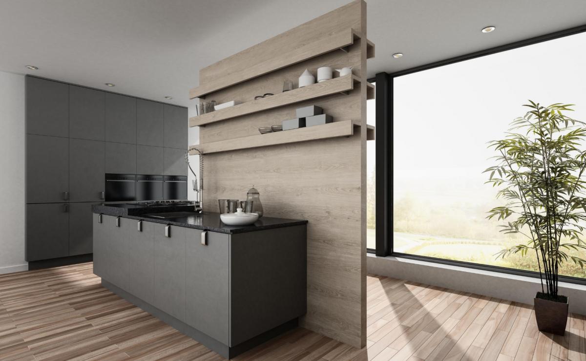 Zweiteilige Küche mit dunkelgrauen Fronten