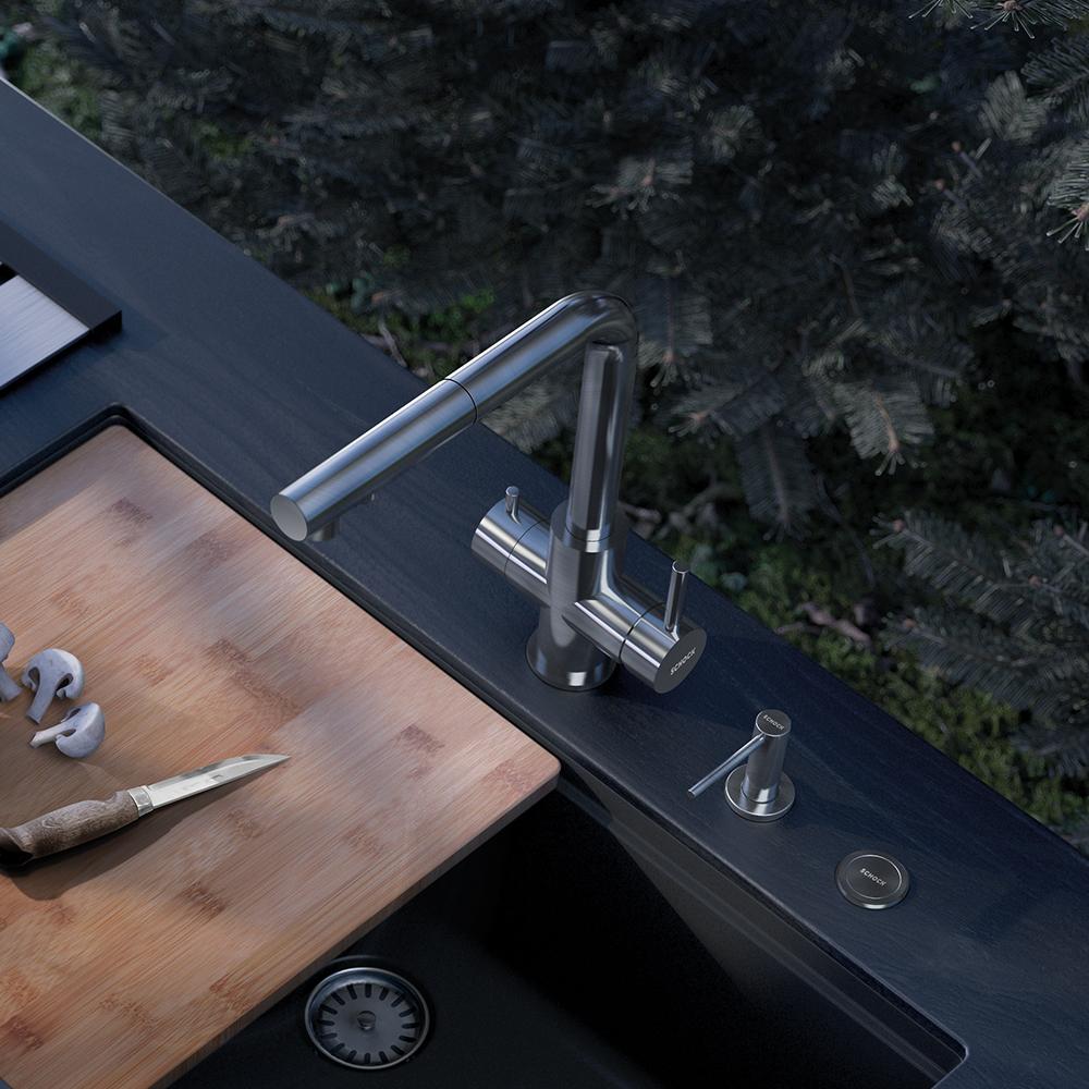 Die Filter-Armatur Vitus überzeugt mit seinem klassisch, modernen Design auch optisch. Foto: SCHOCK