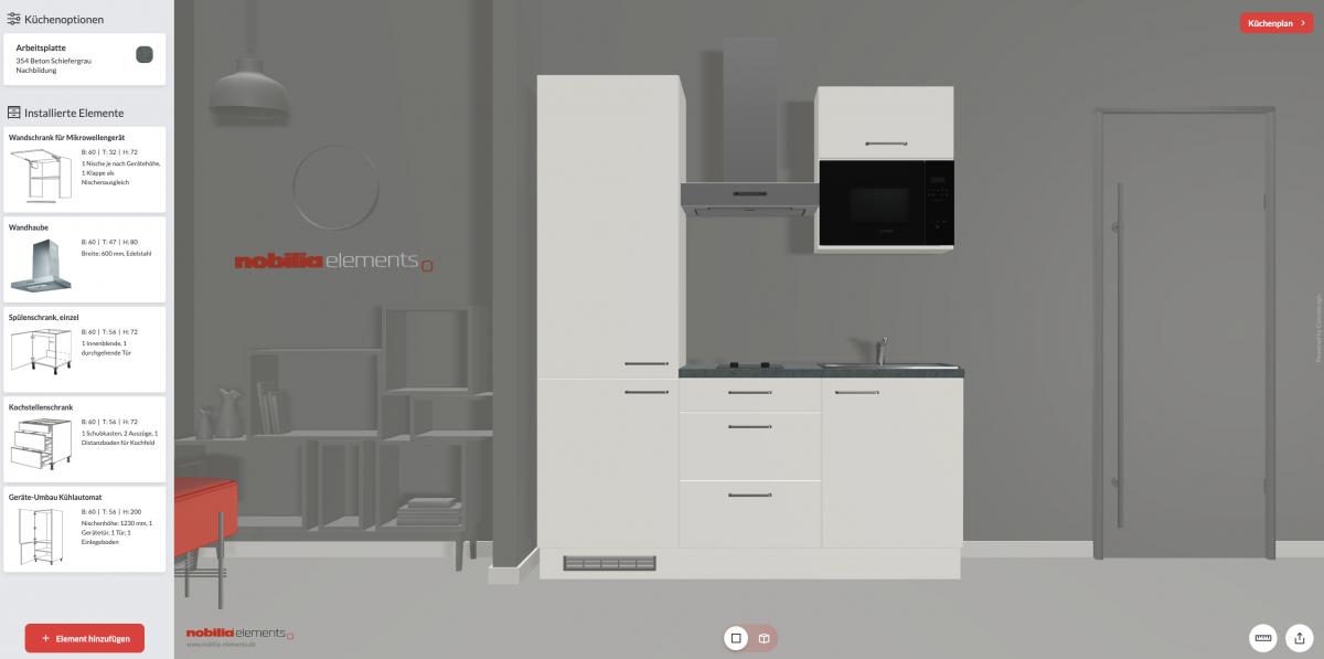 nobilia elements im 3D Küchen-Konfigurator ganz einfach vom Sofa aus planen. Foto: nobilia elements