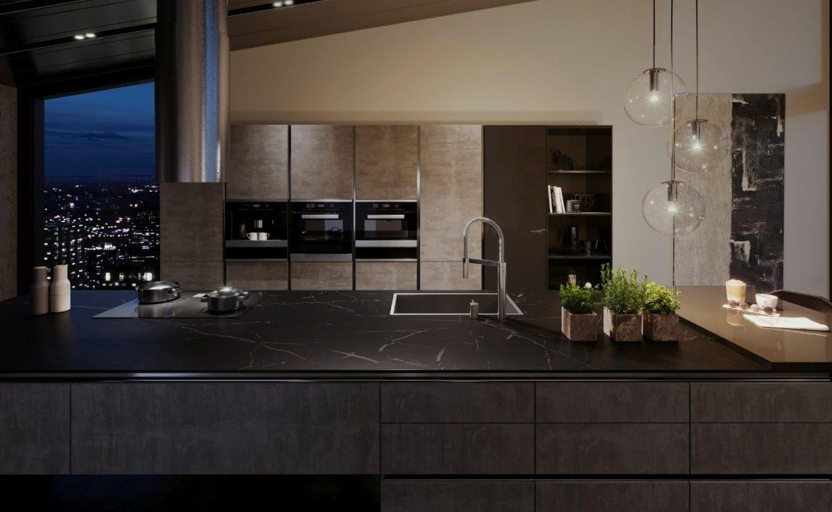 Die Dark Steel Oberfläche in elegantem Dunkelgrau harmoniert ideal mit anderen beliebten Materialien wie Naturstein, Eichenholz und Beton und ist zudem auch noch pflegeleicht. Foto: BLANCO