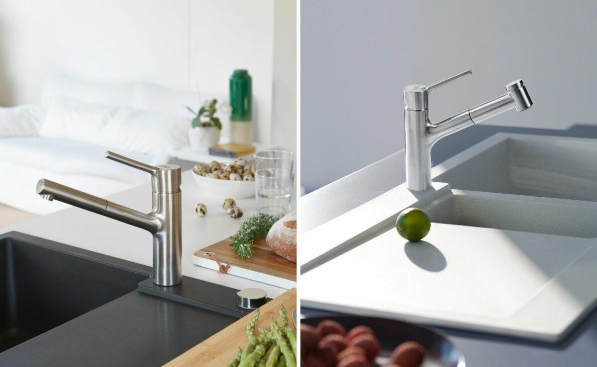 Auch die Taros Neo ist eine fugenlos gefertigte Edelstahl-Armatur. Der integrierte Laminar-Strahlregler von Franke erzeugt einen spritzarmen und kristallklaren Wasserstrahl.