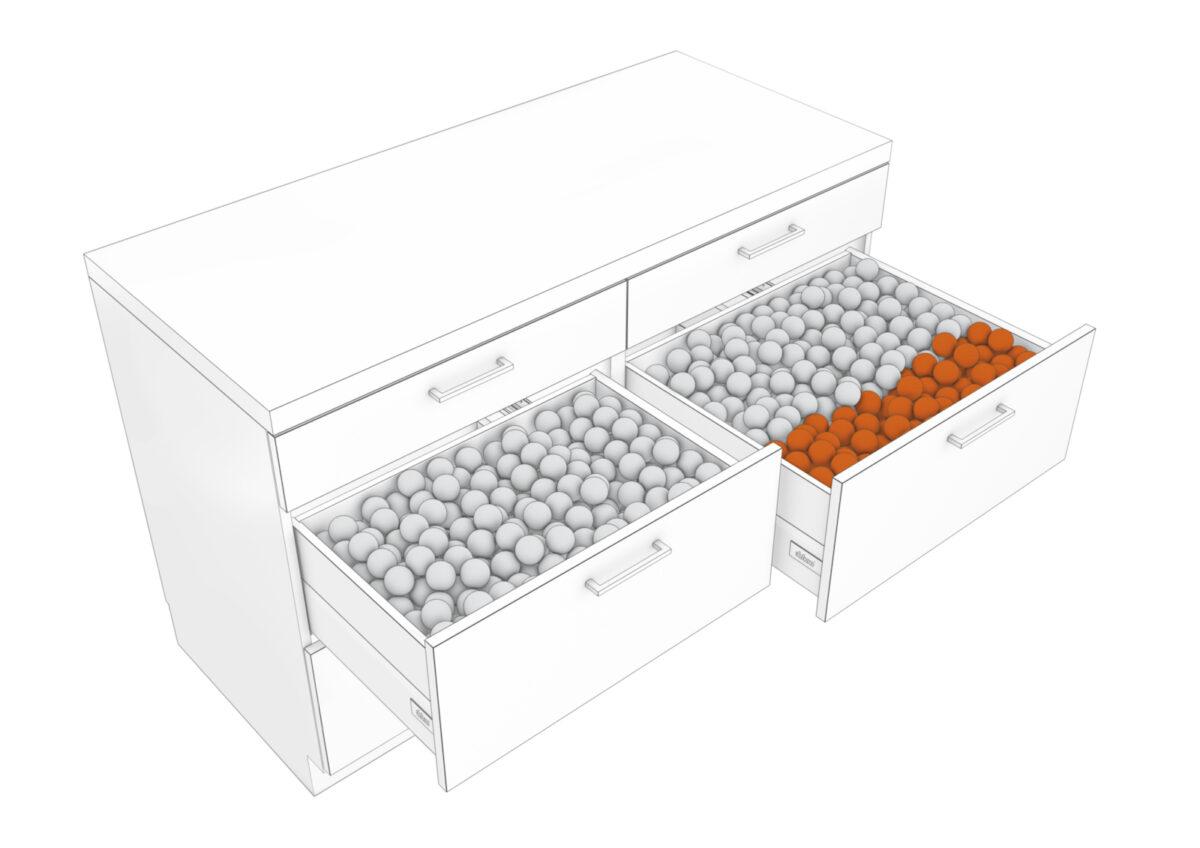 Mit tieferen Auszügen kannst du bis zu 30% mehr Stauraum gewinnen. Foto: Julius Blum GmbH