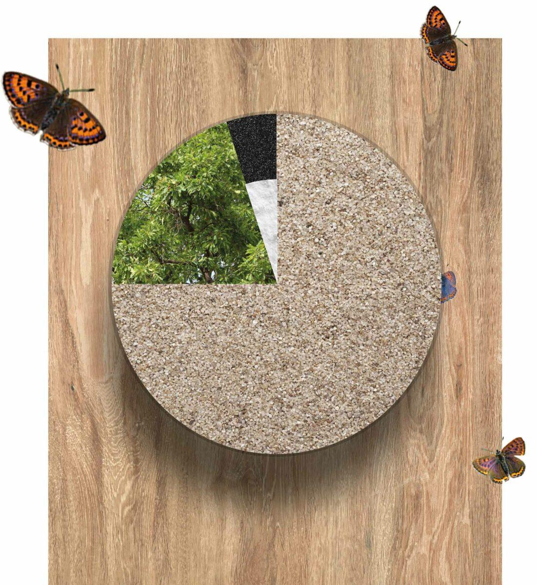 Zusammensetzung der Weltneuheit CRISTADUR® Green Line: Die 75 Prozent Quarzsand werden um natürliche Farbadditive und Bindemittel aus recycelten oder nachwachsenden Komponenten ergänzt. Foto: SCHOCK